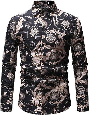Camisa De Hombre Hipster Ligero Ajustado Manga Larga Casual Impresión Abotonar Camisa De Vestir,L: Amazon.es: Hogar