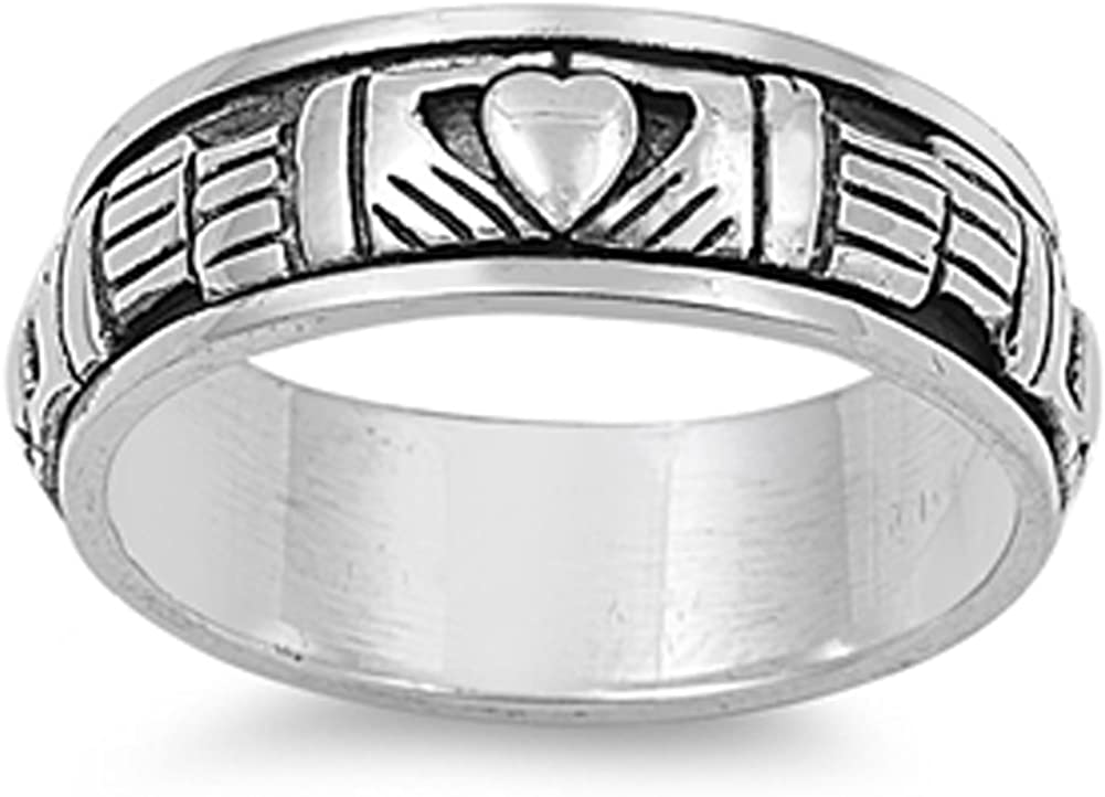 Sterling Silver Women's Men's Claddagh Spinner Ring Celtic Band 9mm Sizes 4-15