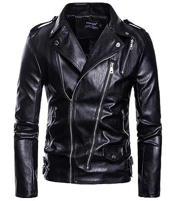 c1050e9a58cd59 Amazon | [ジンニュウ] メンズ ライダースジャケット ジャケット 革ジャン 皮革ジャケット PU おしゃれ 大きいサイズ 防風 防寒 |  コート・ジャケット 通販