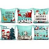 Decorative Pillow Cover - 6 Packs Christmas Pillows Covers 18 X 18 Christmas Décor Pillow Covers Christmas Decorative Throw Pillow Case Sofa Home Décor