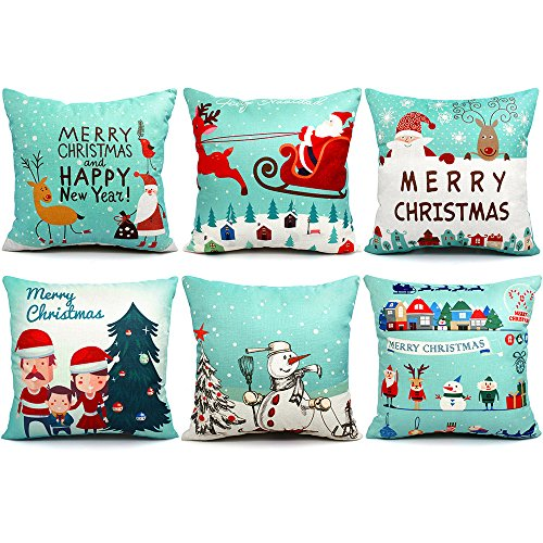 6 Packs Christmas Pillows Covers 18 X 18 Christmas Décor Pillow Covers Christmas Decorative Throw Pillow Case Sofa Home Décor
