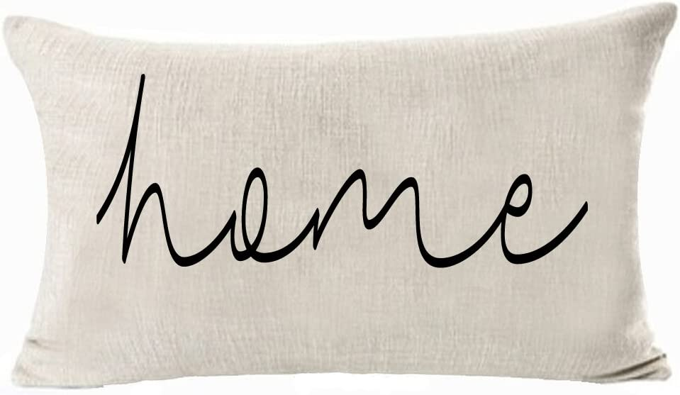 Andreannie Nordic Simple Warm Sweet Home Family Bless Cotton Linen Decorative Lumbar Throw Pillow Cover Cushion Case 12X20 inches