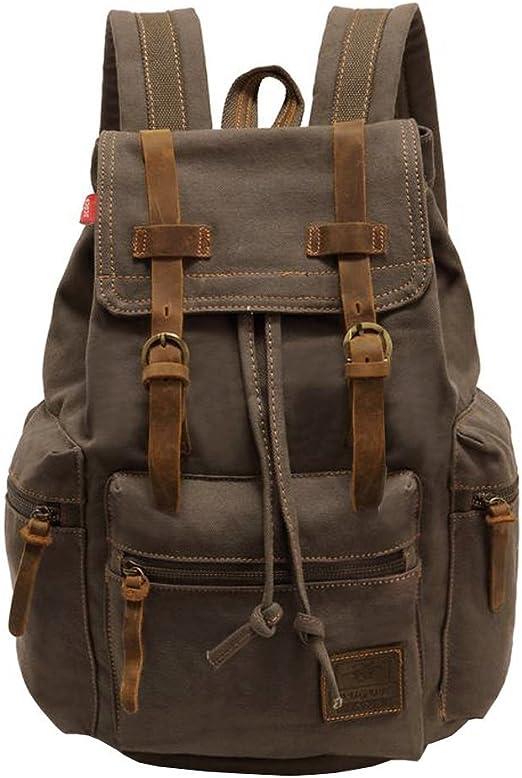 Vintage Unisex Casual Leather Backpack Canvas Backpack School Bag Hiking Backpack Outdoor Shoulder Bag Army Green Luggage