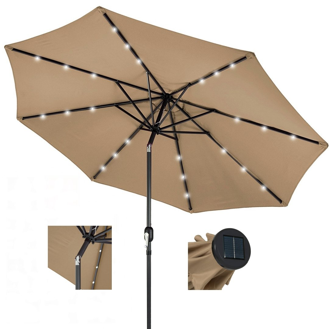 10ft Outdoor Patio Aluminium Umbrella Sunshade UV Blocking Pre-installed Solar Power LED w/Hand-Crank and Tilt System - Tan #1901