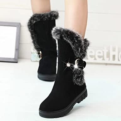 Womens Winter Warm Ankle Flat Snow Boots Platform Ugly Boots High Wedges Shoes