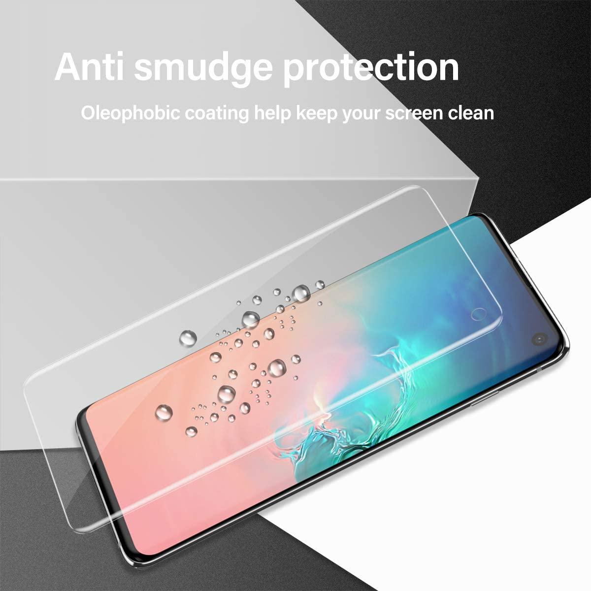 Compatible Fingerprint Self Healing Anti-Bubble 2 + 2 Pack Clear HD Protective Film Galaxy S10 Screen Protector Camera Lens Protector, Case Friendly
