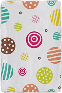 alaza Sveglia del Cerchio colorato con la Banda e DOT in Microfibra di Poliestere Coperta del tiro 60' x 90' Leggero Divano Accogliente Blanket Bed Blanket dal Mio Quotidiano