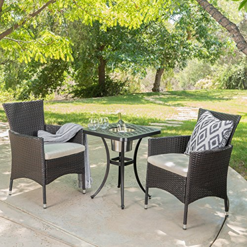 Ariel | 3 Piece Wicker Outdoor Bistro Set With Cushions | With Ice Bucket |  Perfect