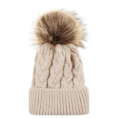 cd491b647a3 Doingshop Baby Girl Boy Beanie Hat Chunky Cable Knitted Bobble Hat Cute Pom  Poms Warm Soft Comfortable(Beige)  Amazon.co.uk  Clothing