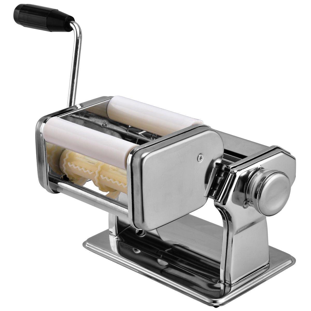 CHEFJOY 5 in 1 Professional Pasta Maker Stainless Steel Roller Cutter w/Clamp Lasagna Spaghetti Tagliatelle Ravioli Machine