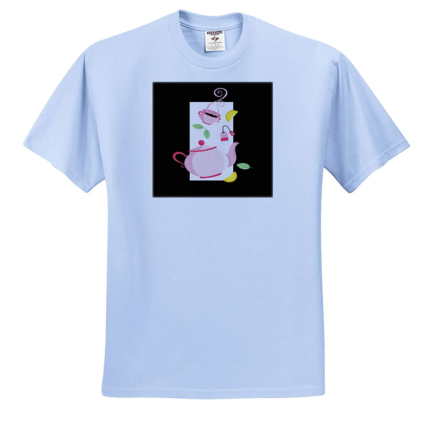 Adult T-Shirt XL 3dRose Sven Herkenrath Funny Tea Time for Relaxing and Lunch Breakfast ts/_316107
