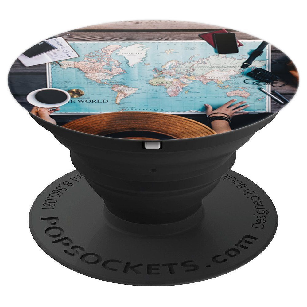 Wanderlust Adventure Map Backpacking Travel Boho Gift Idea - PopSockets Grip and Stand for Phones and Tablets
