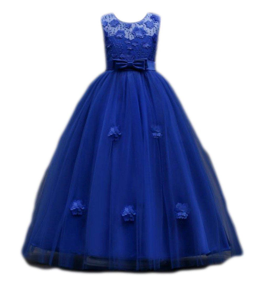 Blyent Girls Lace Casual Bowknot Sleeveless Mesh Swing Pleated Dress Jewelry Blue 12T