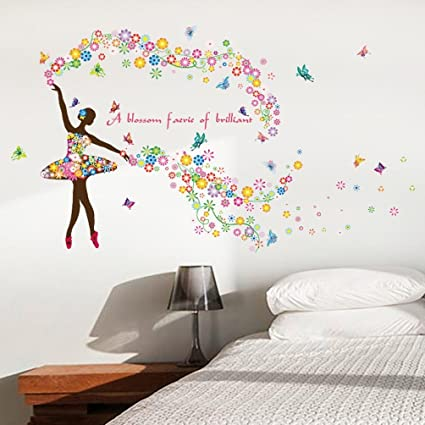 Amazon.com: Staron New Butterfly Flower Fairy Wall Stickers, Home ...