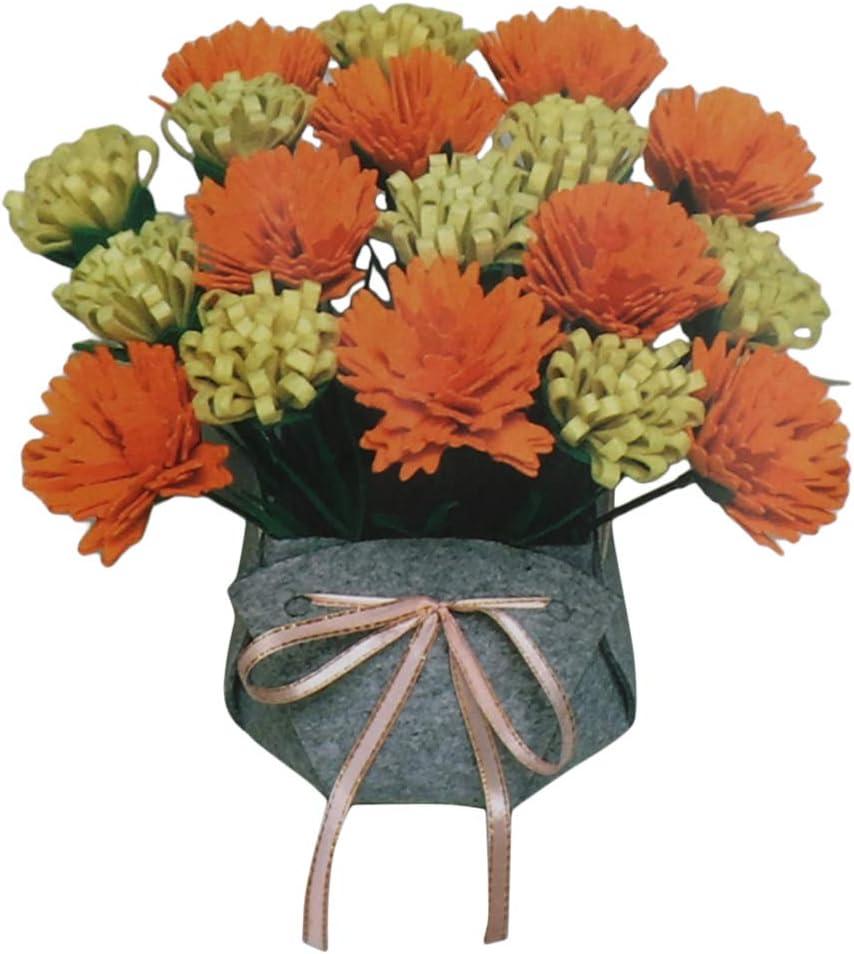 for Beginners Handicraft Lovers DIY Felt Applique Ornament Kits Handmade Daisy//Peony//Rose//Sunflower Potted Blue Carnation