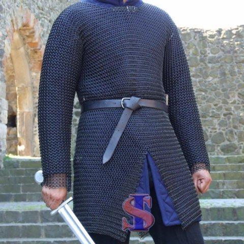 Souvenir India 10 mm Butted Chainmail Medieval Hauberk Full Sleeve Shirt Mild Steel Black, Medium