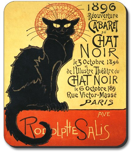 Art Plates Brand Mouse Pad with Chat Noir Design ()