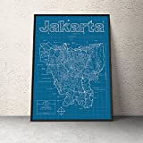 Jakarta, Indonesia Map - Blueprint Style
