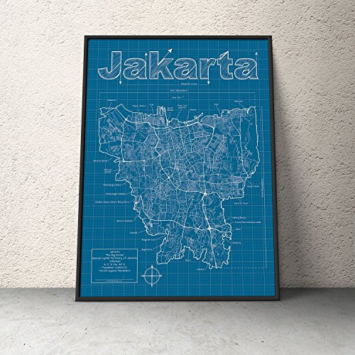 Jakarta, Indonesia Map - Blueprint Style by MapHazardly - Artistic Maps