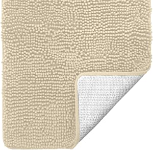 Gorilla Grip Original Luxury Chenille Bathroom Rug Mat, 30x20, Extra Soft and Absorbent Shaggy Rugs, Machine Wash Dry, Perfect Plush Carpet Mats for Tub, Shower, and Bath Room, Sand