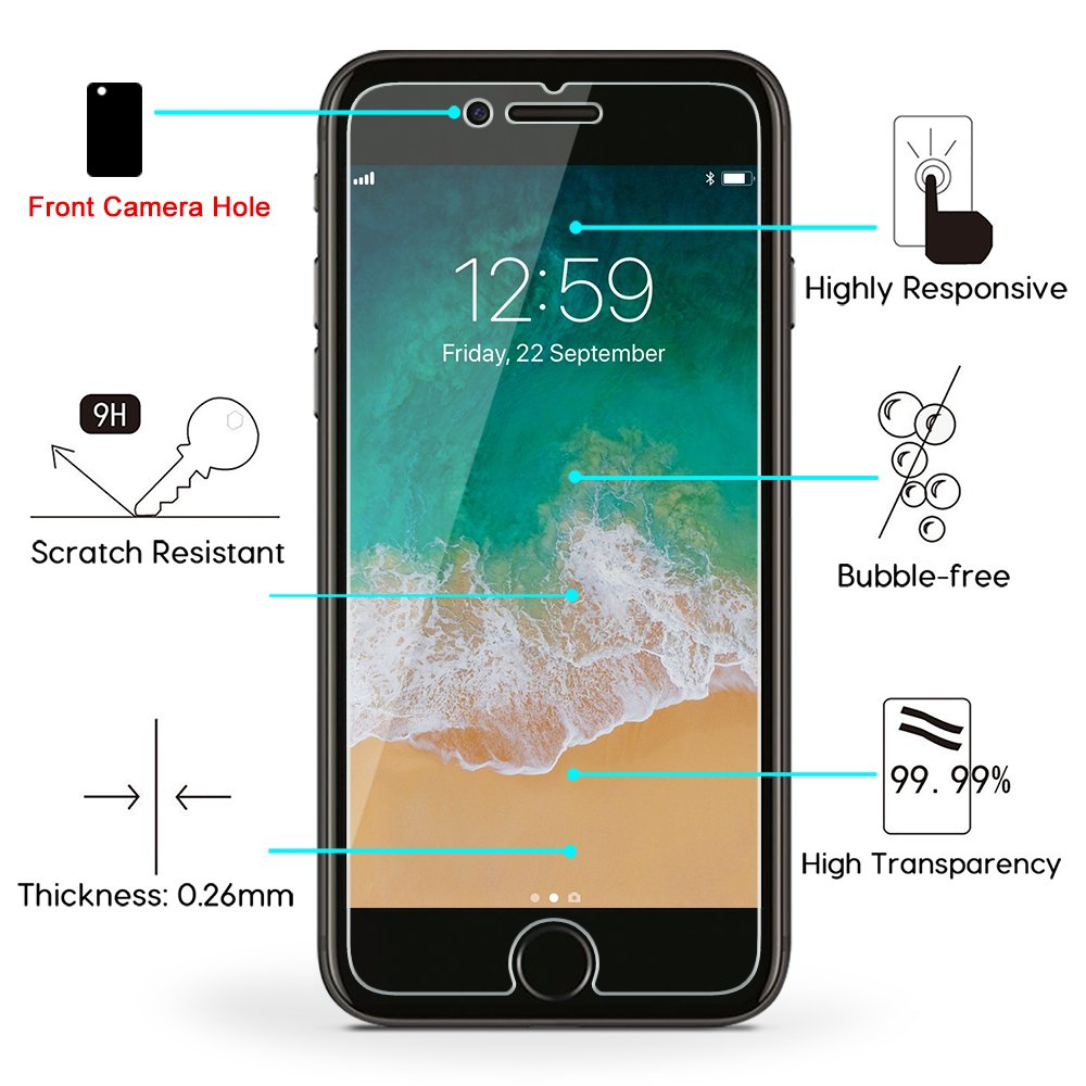 03c29f7aada Amazon.com: OMOTON SmoothArmor 9H Hardness HD Tempered Glass Screen  Protector for Apple iPhone 8 Plus / iPhone 7 Plus, 2 Pack: Cell Phones &  Accessories