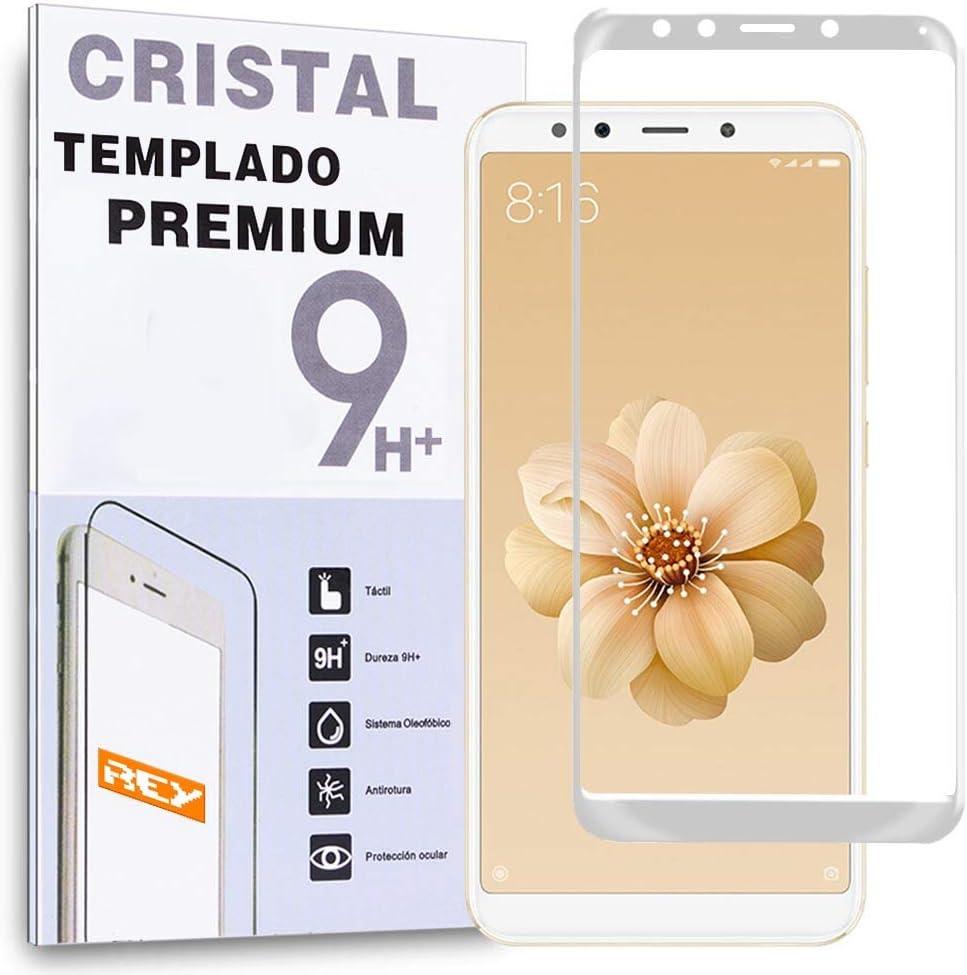 REY - Protector de Pantalla Curvo para XIAOMI MI 6X - MI6X - MI A2 - MIA2, Blanco, Cristal Vidrio Templado Premium, 3D / 4D / 5D