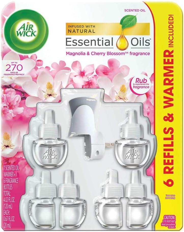 Air Wick Scented Oil 6 Refills Plus Warmer, Magnolia & Cherry Blossom
