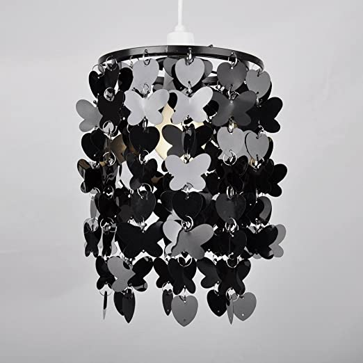 Modern black hearts butterflies ceiling pendant light shade