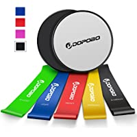 Gliding Discs Core Sliders and 5 Exercise Resistance Loop Bands, Dopobo Double-Sided Sliding Discs, Resistance Bands for Intense, Low-Impact Exercises to Strengthen Core, Glutes, and Abs Fitness
