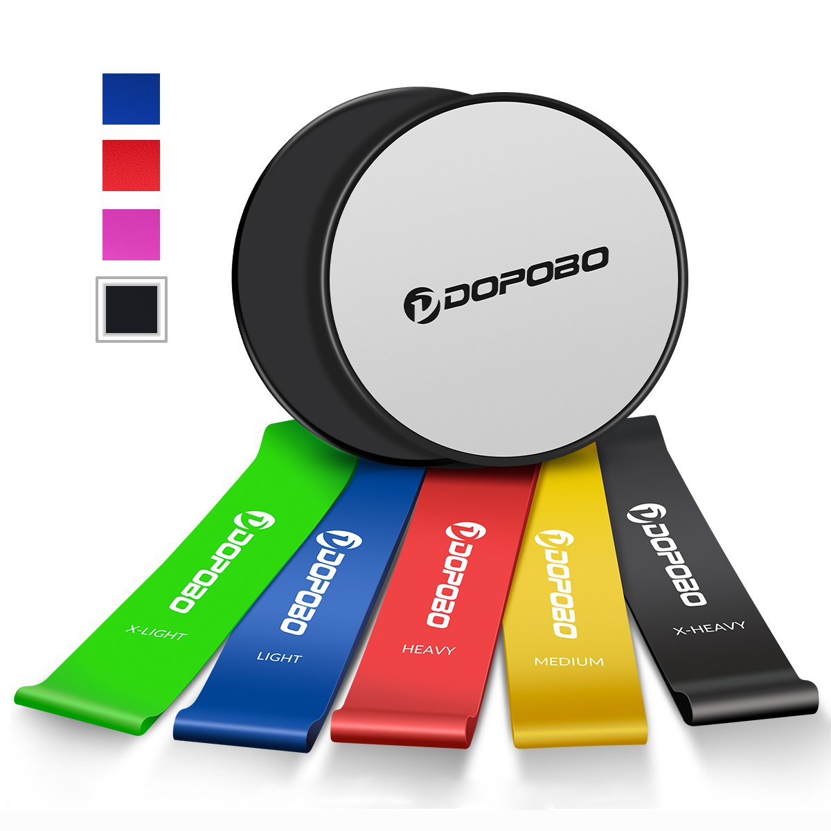 Dopobo Beachbody 5 Resistance Bands and Double-Sided Gliding Discs for Intense, Low-Impact Exercises