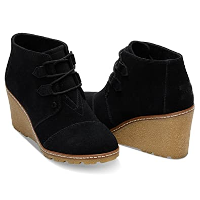 ce1bd159327 TOMS Women s Desert Wedge Crepe Black Suede Shoes 5.5