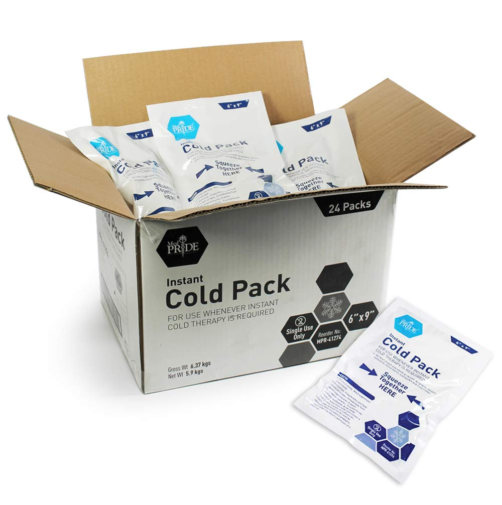Medpride Instant Cold Pack (6''x 9'') - Set of 24 Disposable Cold Therapy Ice Packs for Pain Relief, Swelling, Inflammation, Sprains, Strained Muscles, Toothache - for Athletes & Outdoor Activities by MED PRIDE