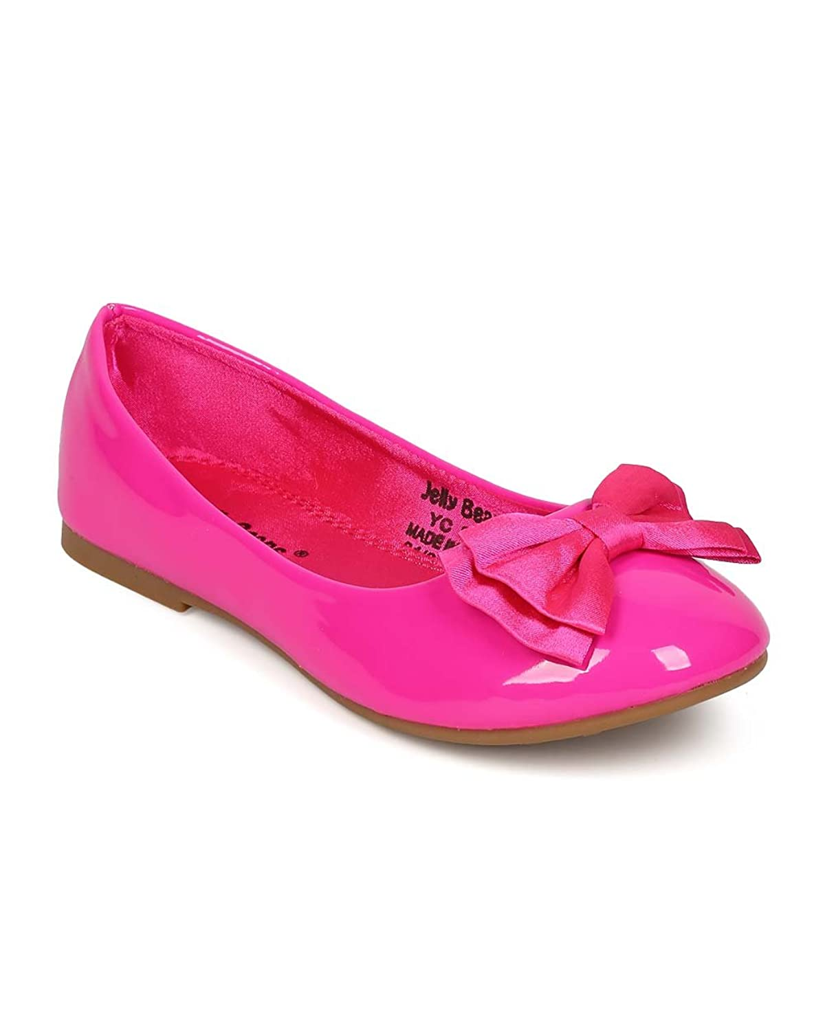 83689938302 Alrisco EI48 Patent Leatherette Bow Ballerina Flat (Little Girl Big Girl) -  Magenta