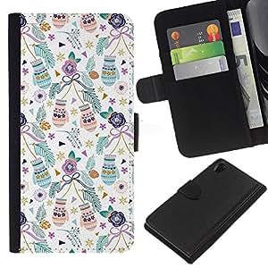 EJOY---La carpeta del tirón la caja de cuero de alta calidad de la PU Caso protector / Sony Xperia Z2 D6502 / --Vacaciones de Navidad mitones navidad verde azulado