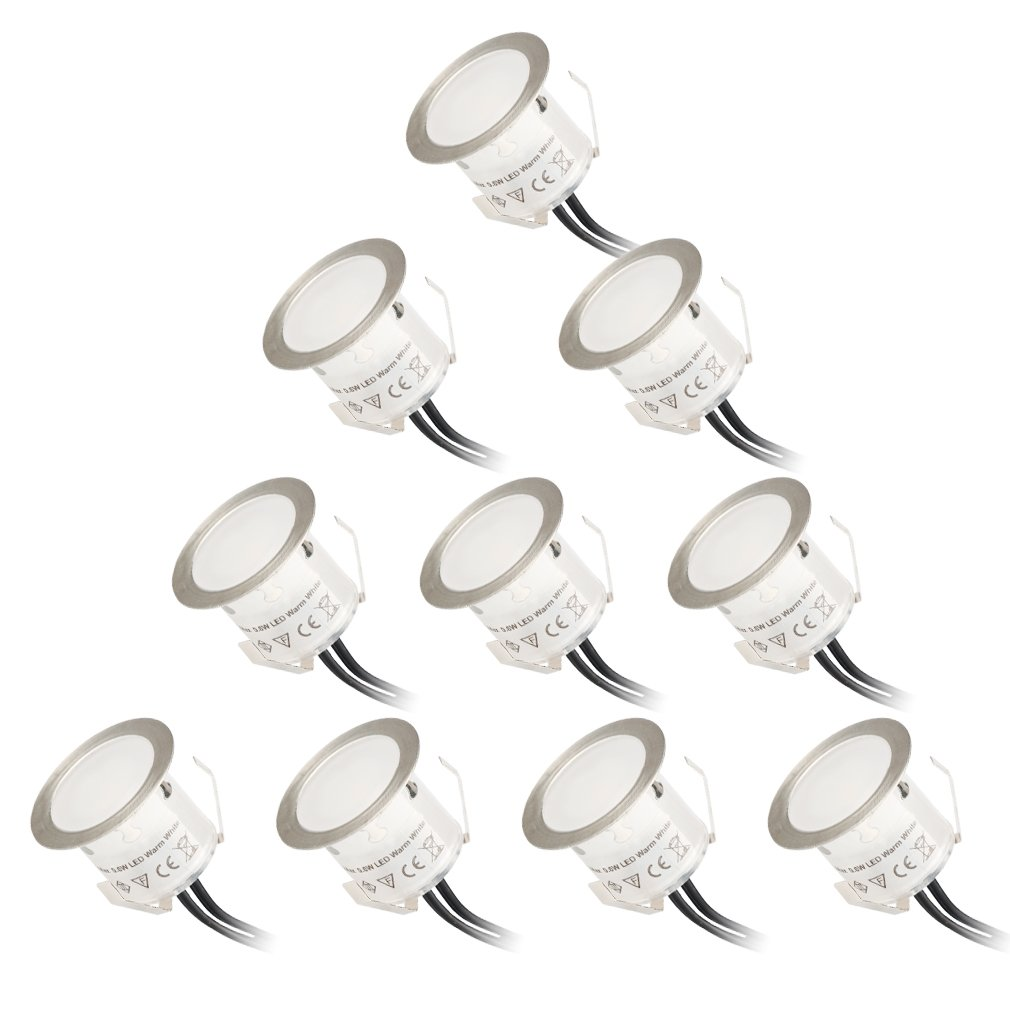 öuesen Terrasses Jeu de 10 Spot rond étanche IP67 Spot LED encastrable Blanc chaud Spot à Encastrer pour sol extérieur terrasse Escaliers Jardin Cuisine Salle de bains (DC12 V, 0,6 W/pièce)