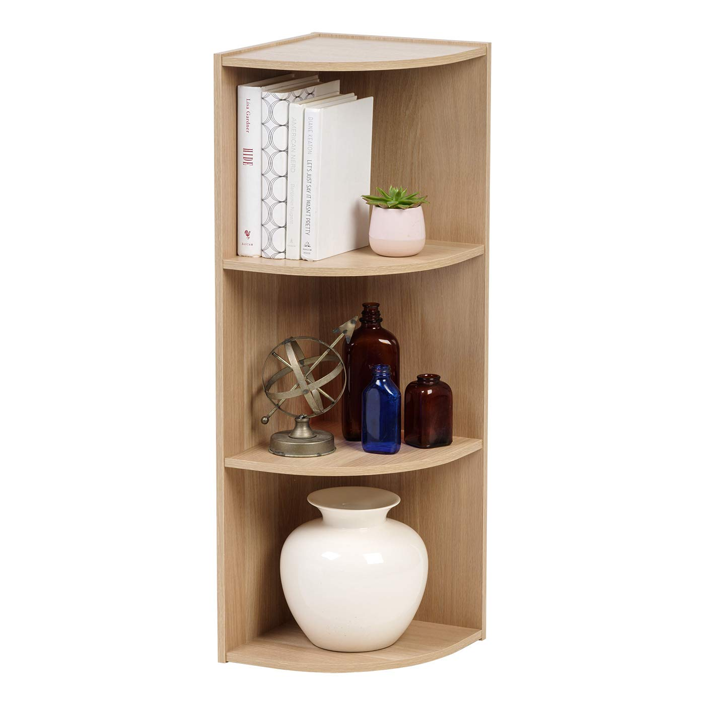 IRIS USA FBA_ 3-Tier Corner Curved Shelf Organizer, Light Brown