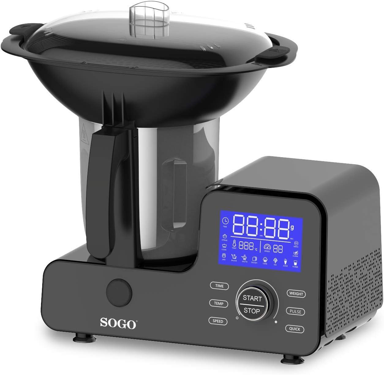 SOGO Easy Cook BAT-SS-14555 Robot de Cocina Multifunción, Báscula Integrada, con Vaporera, Libro de Recetas, 1500 W, 2 litros, Acero Inoxidable, 11 Velocidades, Negro: Amazon.es: Hogar