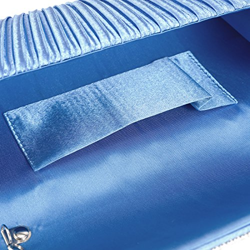 Women Bridal Pleated Bag Clutch Shoulder Blue Satin Prom Evening Diamante Anladia Royal Bag Handbag qpxdR1q