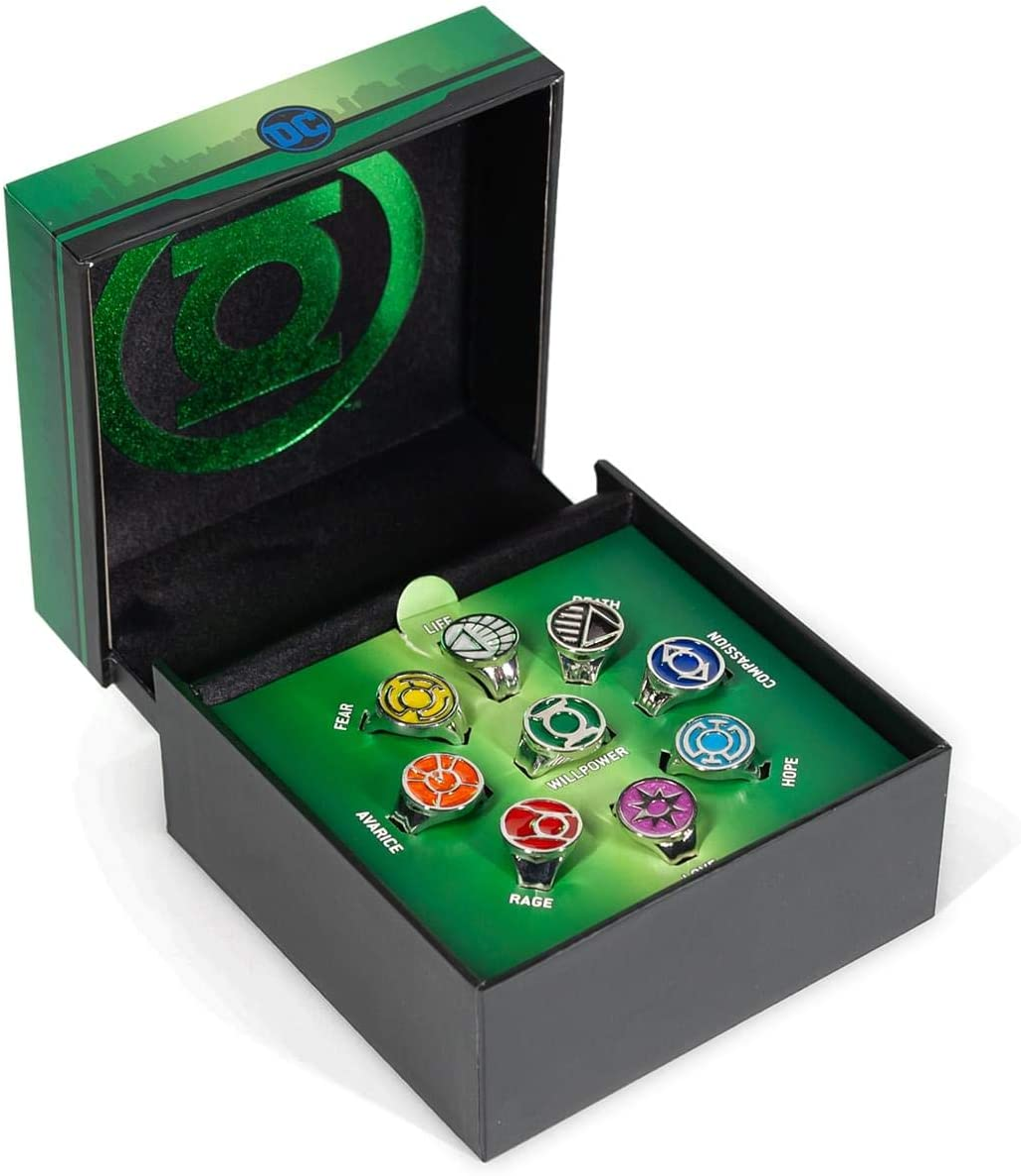SalesOne LLC DC Comics Green Lantern Power Rings Emotional Spectrum Power Rings | Includes 9 Adjustable Rings Featuring Each Power Ring Emotion