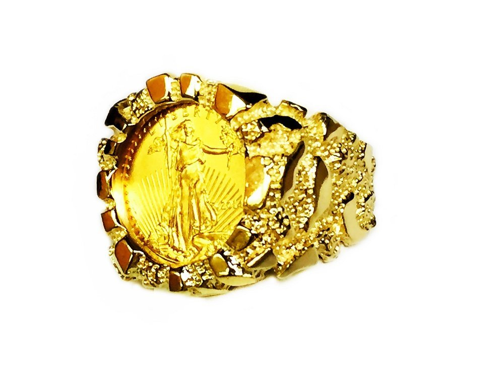 14K Gold Men'S 21 Mm Nugget Coin Ring With A 22 K 1/10 Oz American Eagle Coin - Random Year Coin by TEX (Image #1)