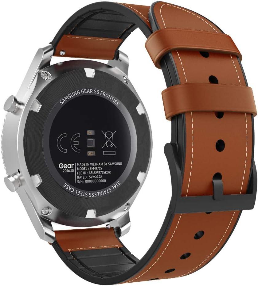 MoKo Compatible con Gear S3/Gear S3 Classic/Huawei Watch GT 2e/S3 Frontier/Galaxy Watch 46mm/Huawei Watch GT 46mm Reloj Correa, Pulsera de Cuero Premium con Conectores metálicos - Marron Oscuro