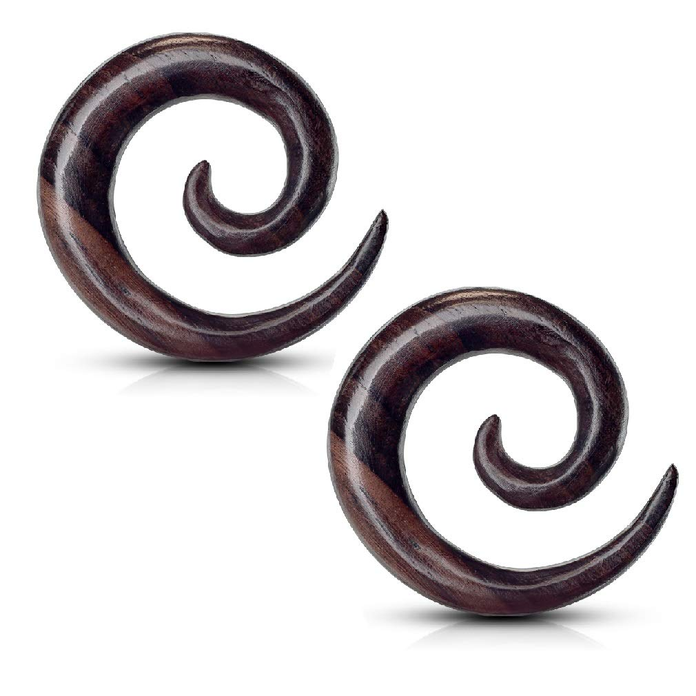 Pierced Owl Pair of Organic Sono Wood Spiral Tapered Hanger Ear Plugs (10mm (00GA)) by Pierced Owl