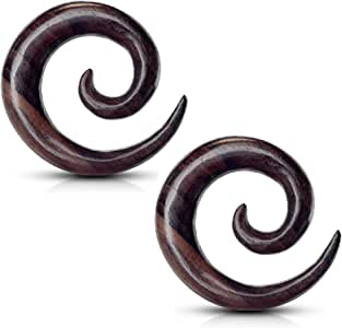 Dynamique Pair of Organic Areng Wood Round Ear Spiral Tapers//Septum Hangers