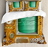 Duvet Cover Set Retro Industrial Victorian Style Grunge Steampunk TV Gauger Retro Clockwork Ultra Soft Breathable Durable Twill Plush 4 Pcs Bedding Sets for Childrens/Kids/Teens/Adults Twin Size