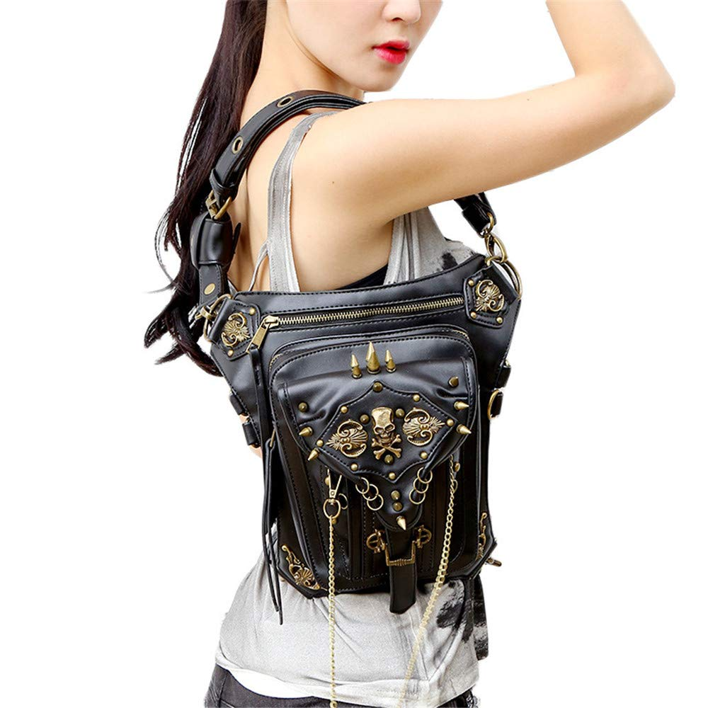 Leder & Vintage Gothic Retro Steampunk Handtasche im viktorianischen Stil Schulter Taille Tasche schwarz