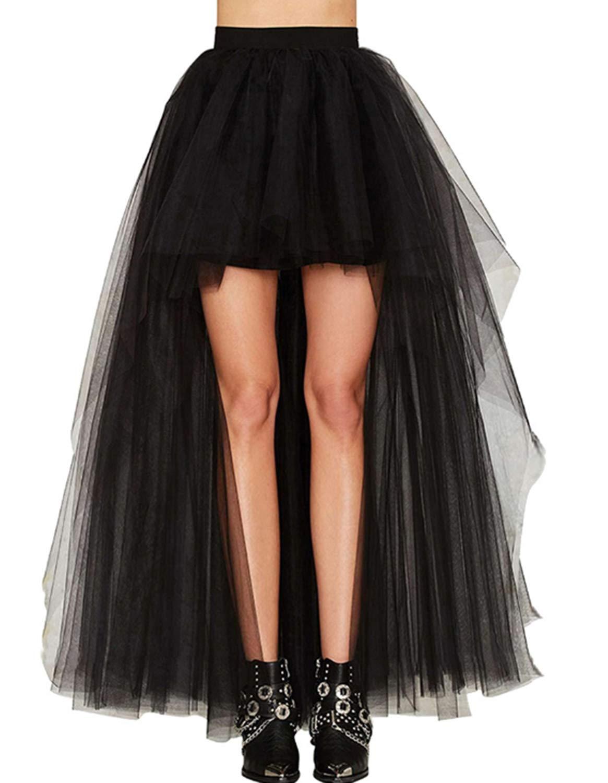 Burvogue Women's Gothic Vintage Lace High Low Steampunk Skirt