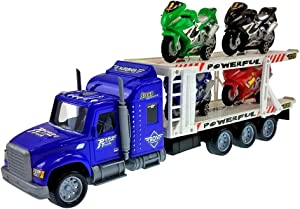 Funeez Friction Powered Transporter Truck with 4 Motorcycles Toy for Kids! (Colors May Vary)