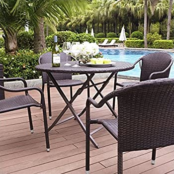 Crosley Furniture Palm Harbor 5 Piece Outdoor Wicker Cafe Dining Set   Brown