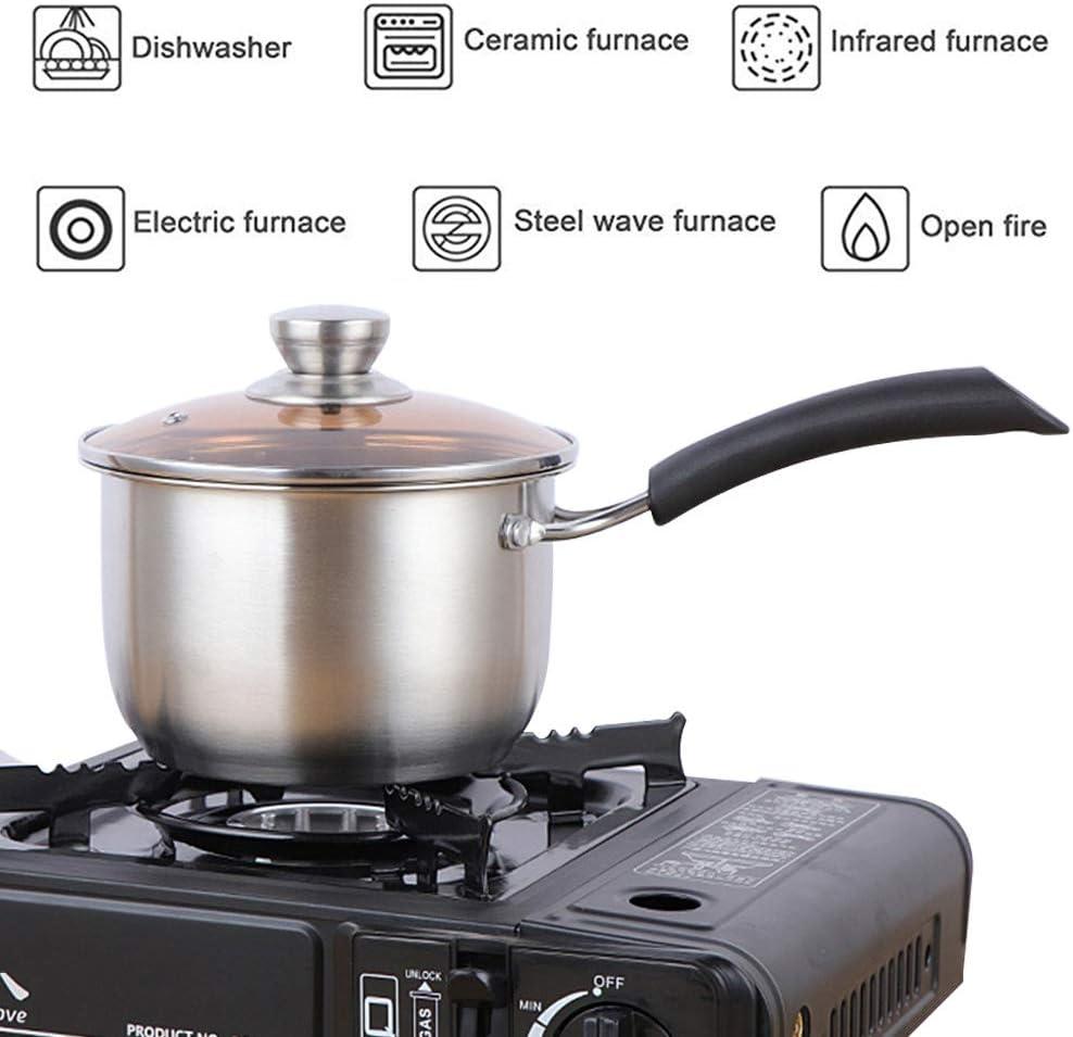 Casserole /à sauce avec couvercle en acier inoxydable anti-adh/ésif avec couvercle poign/ée r/ésistant /à la chaleur Ustensiles de cuisine polyvalents pour la maison la cuisine le restaurant 16cm
