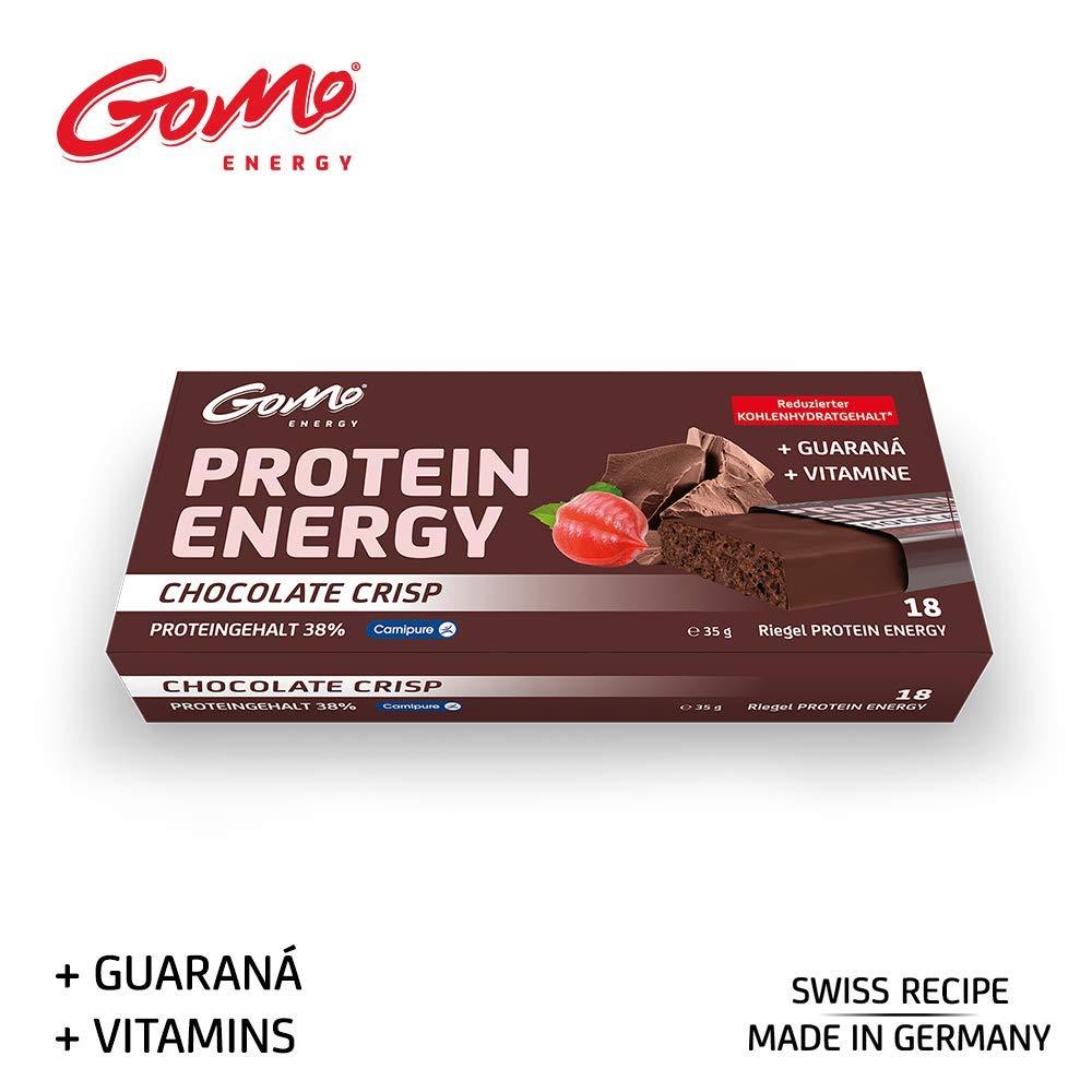 GoMo ENERGY® 38% PROTEIN BAR │ Programa de aumento de la energía y la pérdida de grasa │ 200 mg de guaraná + L-carnitina y vitaminas B │ Fuente de ...